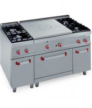 GAS SOLID TOP + 4 BURNERS ON 2/1 GAS OVEN