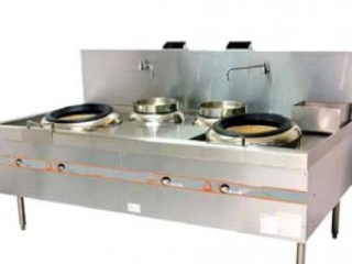 GAS OPERATED WOK RANGE WITH 2 REAR POTS